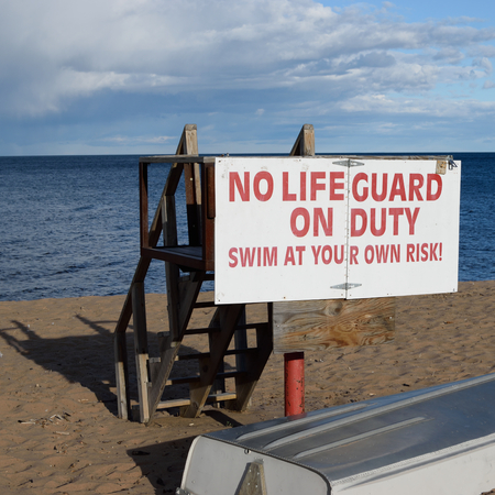 life guard stand: Vacant Lake Superior Lifeguard Station in Fall