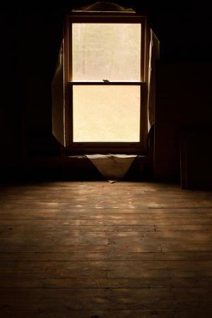 through window: Sunlight Through Window of Abandoned House Stock Photo