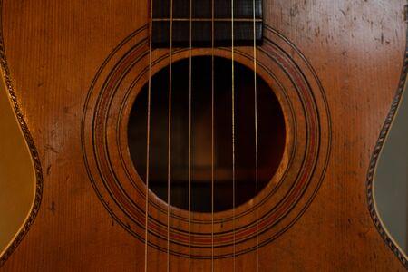 bluegrass: Closeup Detail of Vintage Parlor Guitar