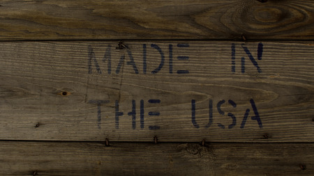 barnwood: MADE IN THE USA Stamped on Weathered Wood Stock Photo