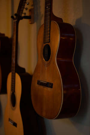 parlor: Collection of Vintage Parlor Guitars Stock Photo