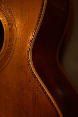 parlor: Side Detail of Vintage Parlor Guitar
