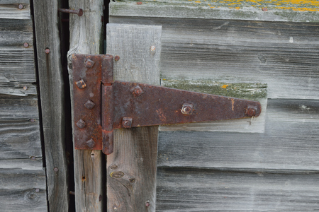 fixer upper: Rusty Hinge and Nails on Old Barn