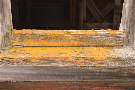 fixer upper: Lichen on Old Barn Window Stock Photo