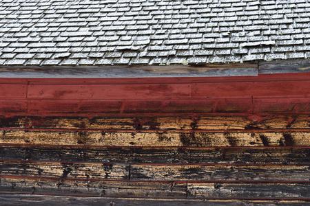 Weathered Barn Wood and Snow Covered Cedar Shingles