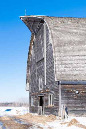 Abandoned Barn in Winter Stock Photo