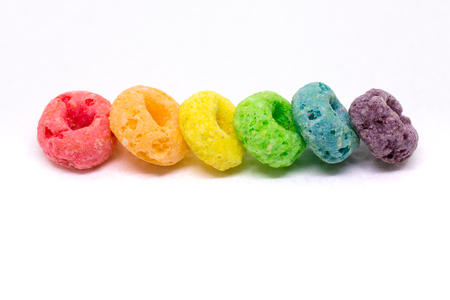 Colorful Cereal Arranged in Rainbow Color Order