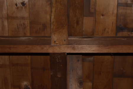 Old Wood Floor Joist and Supports Stock Photo