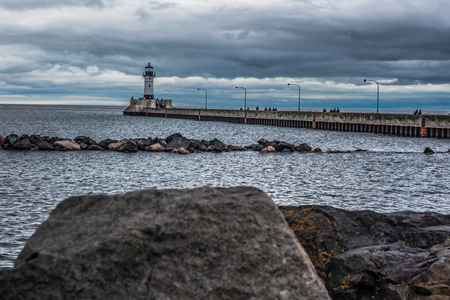 Lighthouse in Duluth Minnesota Stock Photo
