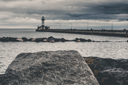 Dark View of Duluth Lighthouse