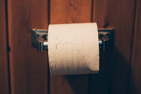 Toilet Paper on Vintage Metal Holder Stock Photo