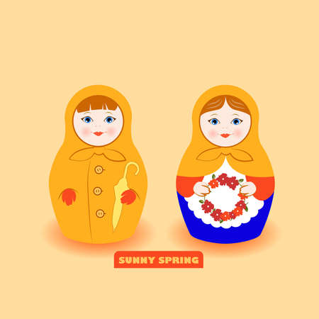 Spring Mood Matryoshka Vector