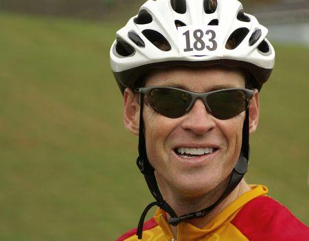 seasoned: Face of seasoned rider day of the big race Stock Photo