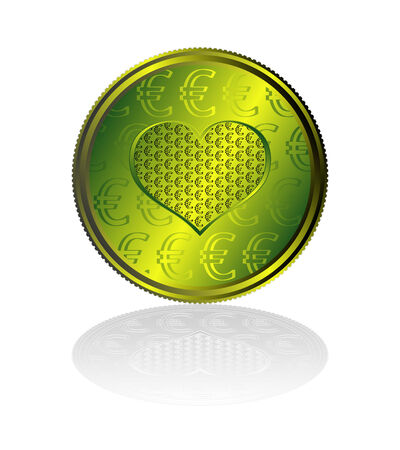 Concentration of Euro in heart. Vector file contains original seamless. Vector