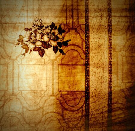 braun: Vintage background from shabby floral wallpaper