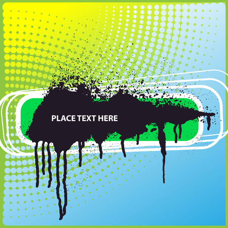 Vector template with big ink blot on a dot background