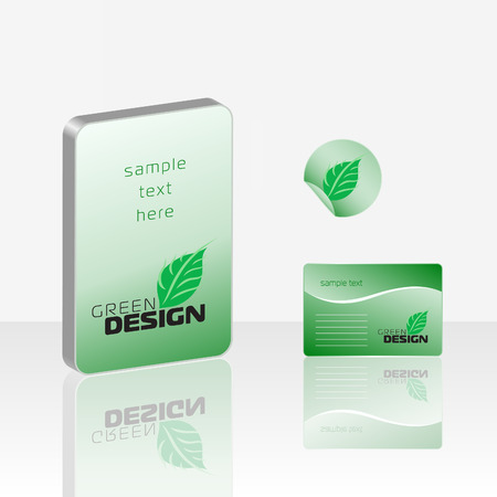 Set of elements of bio style (box, card, label) Vector
