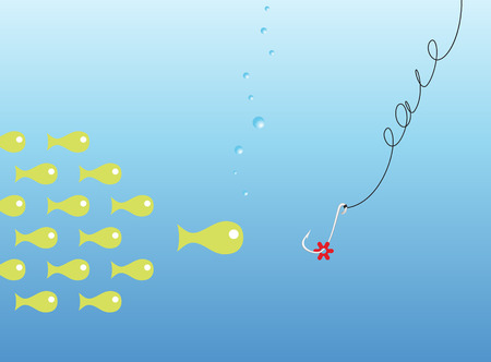 Group of small fishes has met a red bait on a hook Stock Vector - 5120871