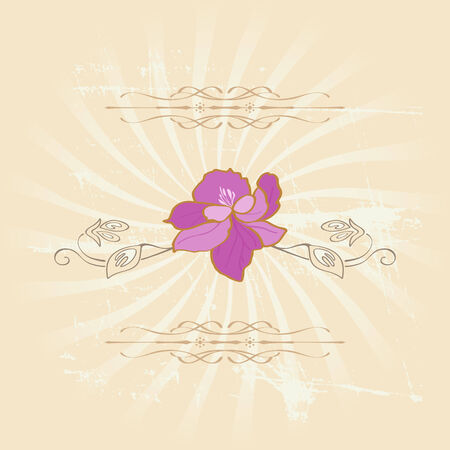 Vector floral vintage style with pink flower and leaves Vector
