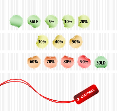 Strategic concept of successful sales (vector set of tagsl) Vector