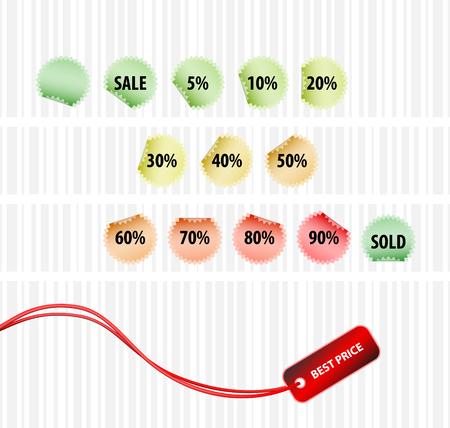 Strategic concept of successful sales (vector set of tagsl) Vector