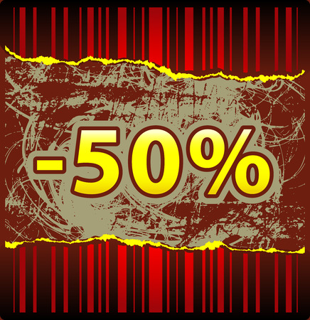 Template for hot offer from red tattered wallpaper Stock Vector - 5469955