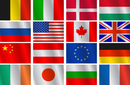 different shapes: set different countries flags