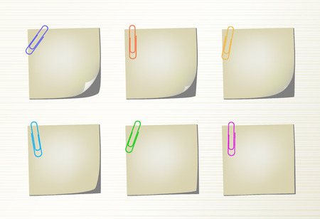 six objects: Six different variation pages with bent corner and colored clips Illustration