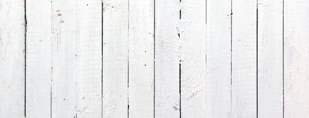 Panoramic weathered painted white wooden plank photo