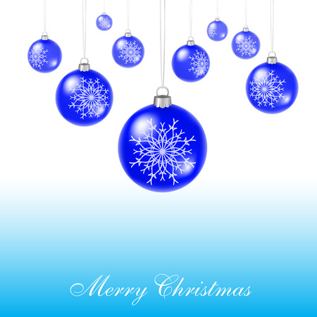 blue christmas balls hang one after another Vector
