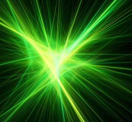 flash light: Bright green beams. Digital generated this image