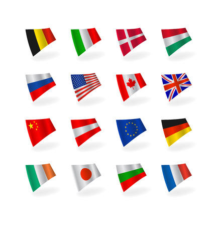 set icons countries  fluttering flags Stock Vector - 6157019