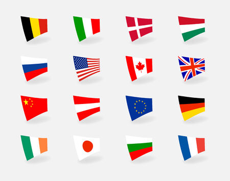 Vector set icons countries flags Vector