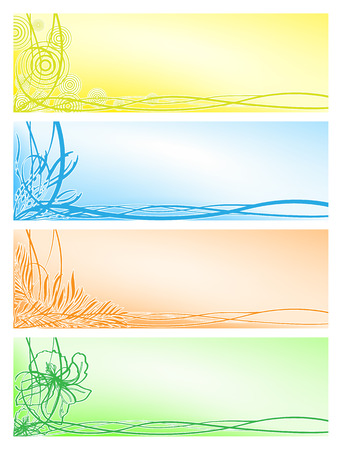 Vector set from four beautiful floral banners Vector