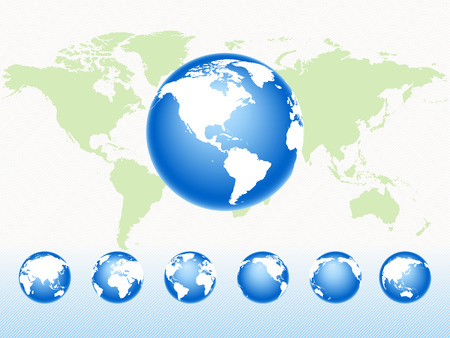 Conjunto de rotación del mundo en un mapa Ilustración de vector