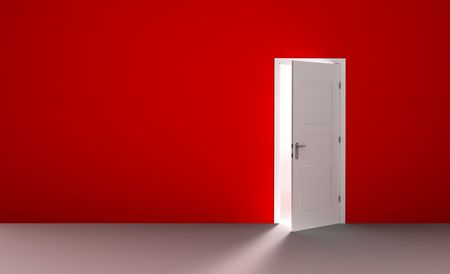 door way: Open white door in a empty red room