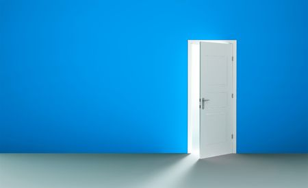 entrance door: Open white door in a empty blue room Stock Photo