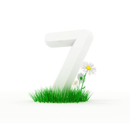 Big white digit on a 3D fresh lawn with camomiles Stock Photo - 6777728