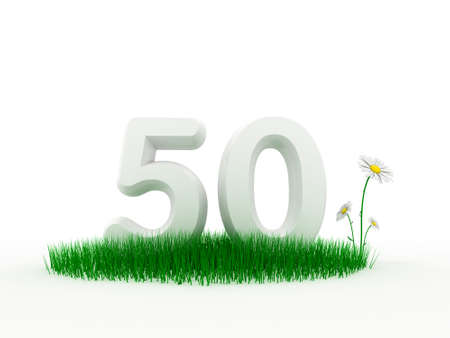 Big white digit on a 3D fresh lawn with camomiles photo