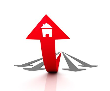 Red arrow with icon of house bends above gray arrows. 3D graphic image photo