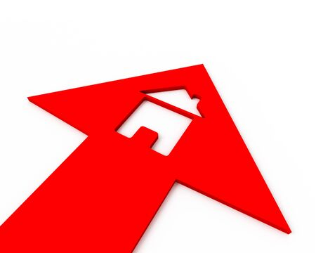 Icon of a small house inside of a red arrow. 3D graphic image photo