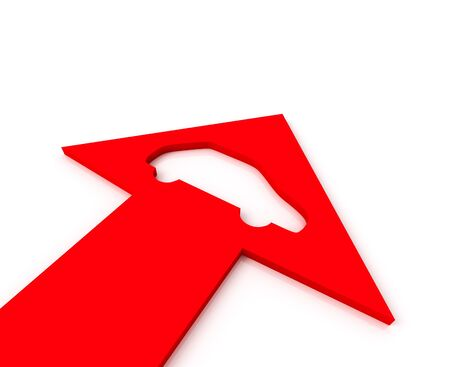 Red arrow with icon of automobile bends above gray arrows. 3D graphic image photo
