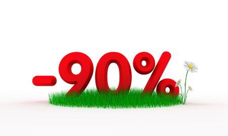 ninety: Ninety percent off. Digital generated this image