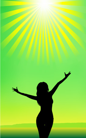 Lime. Silhouette of a young attractive girl on the sea, sky and sun