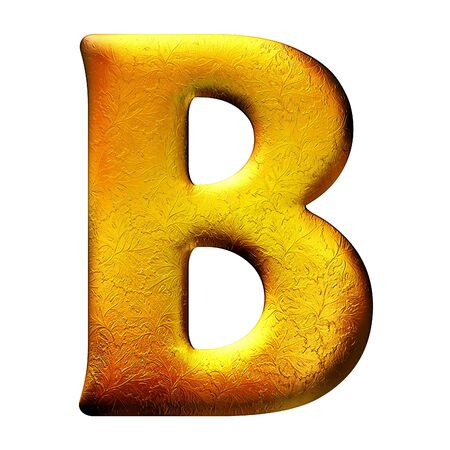 upper case: Golden textured letter with floral pattern. Isolated of background