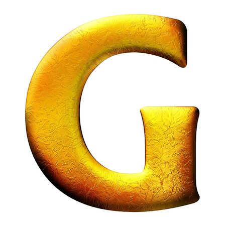 Golden textured letter with floral pattern. Isolated of background photo