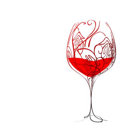 Bicchiere da vino stilizzato con vino e motivo floreale  Vettoriali