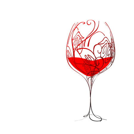 Stylized wineglass with wine and floral pattern Vector