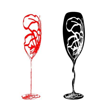 flet: Stylizowane wineglass Ilustracja