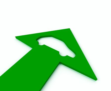 Green arrow with icon of automobile bends above gray arrows photo